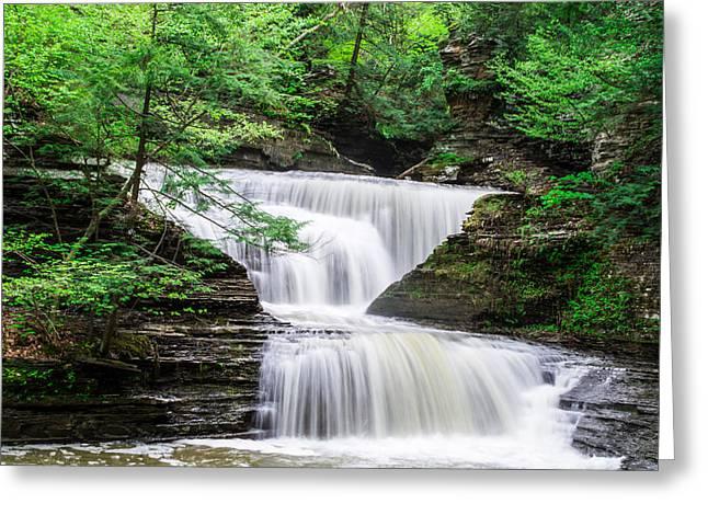 Buttermilk Falls Landscape Greeting Card by John Baumgartner
