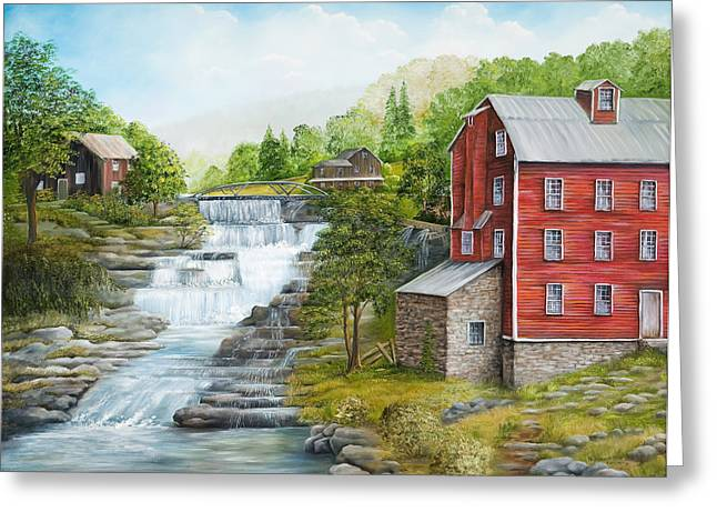 Buttermilk Falls With Red Mill Greeting Card by Carol Angela Brown