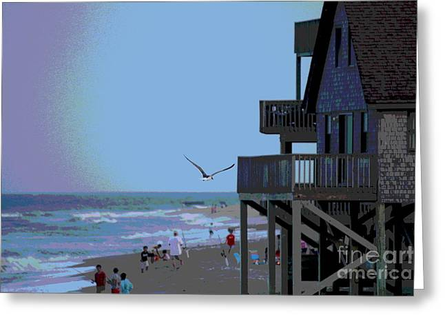 Buxton Beach And People Greeting Card by Cathy Lindsey