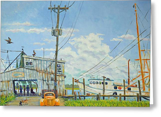 Greeting Card featuring the painting Buying Shrimp In Rockville by Dwain Ray