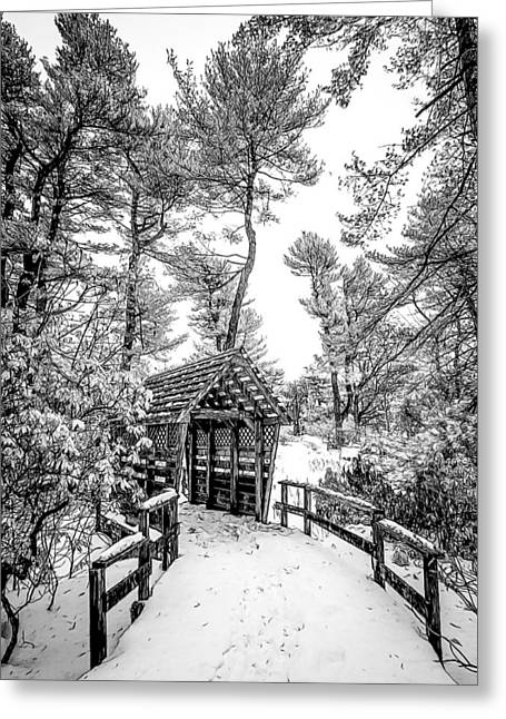 Bw Covered Bridge In The Snow Greeting Card