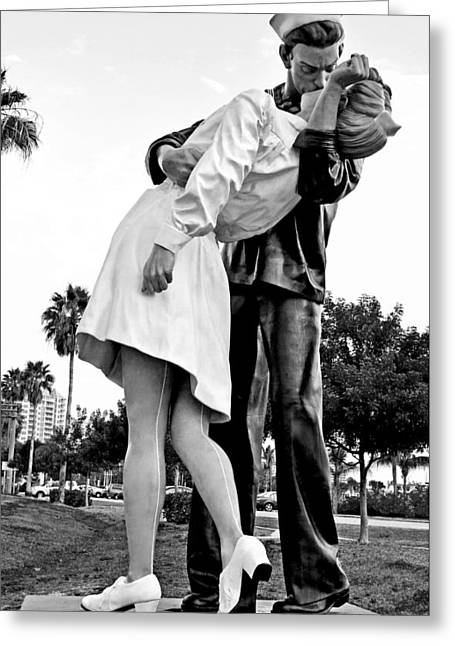 Bw Nurse And Sailor Kissing Statue Unconditional Surrender Dayti Greeting Card by Sally Rockefeller