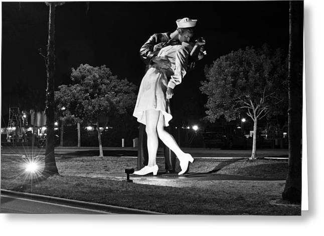 Bw Nurse And Sailor Kissing Statue Unconditional Surrender Night Greeting Card by Sally Rockefeller