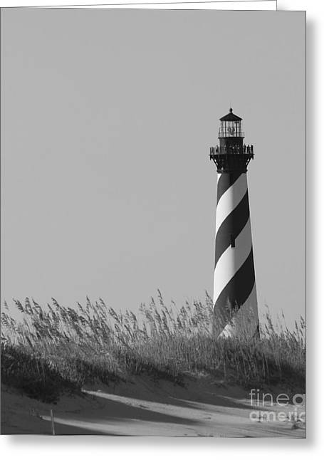 Bw Of Hatteras Lighthouse Greeting Card by Laurinda Bowling