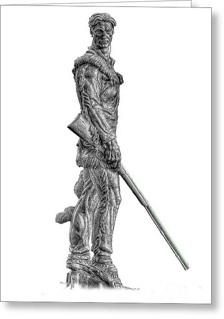 Bw Of Mountaineer Statue Greeting Card by Dan Friend