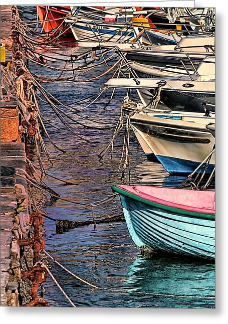 By A Nose Mykonos Greece Greeting Card by Tom Prendergast