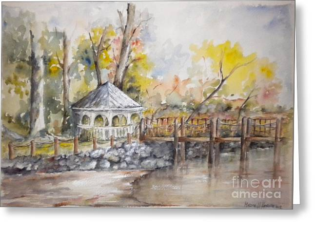 Gazebo At Lake Wylie Greeting Card