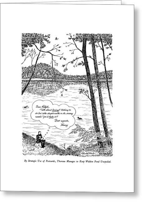 By Strategic Use Of Postcards Greeting Card by J.B. Handelsman