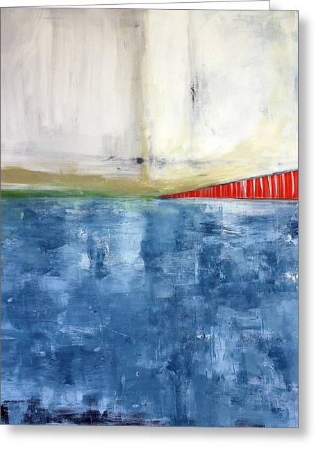By The Bay- Abstract Art Greeting Card by Linda Woods