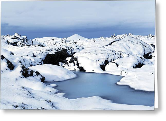 By The Blue Lagoon In Iceland Greeting Card by Agusta Gudrun  Olafsdottir