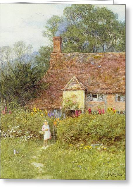 By The Cottage Gate Wc On Paper Greeting Card by Helen Allingham