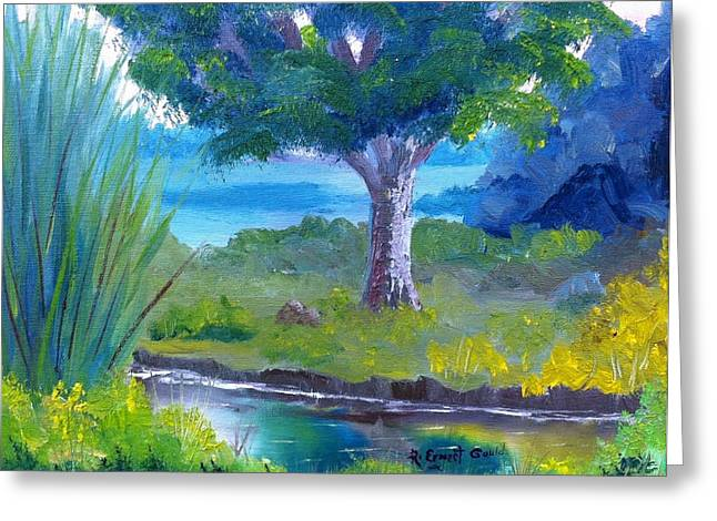 By The Creek Greeting Card by Roy Gould