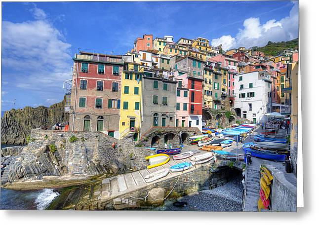 By The Harbor In Riomaggiore Greeting Card