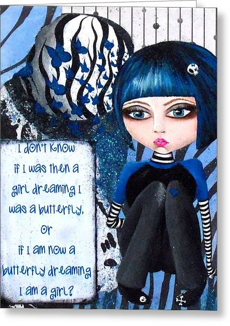 Greeting Card featuring the painting By The Moonlight by Oddball Art Co by Lizzy Love