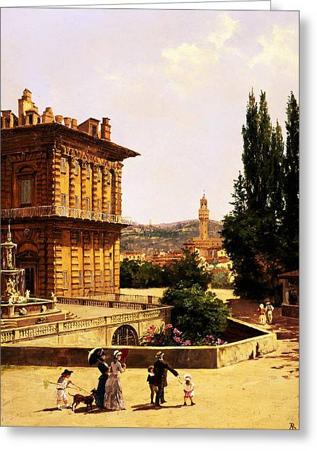 By The Pitti Palace In Florence Greeting Card by Antonietta Brandeis
