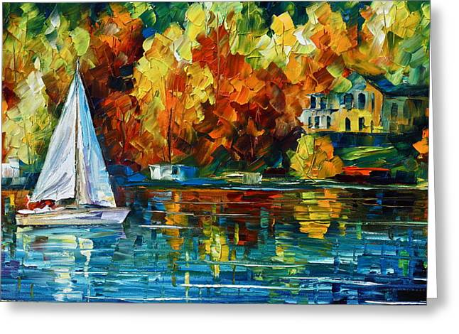 By The Rivershore Greeting Card by Leonid Afremov