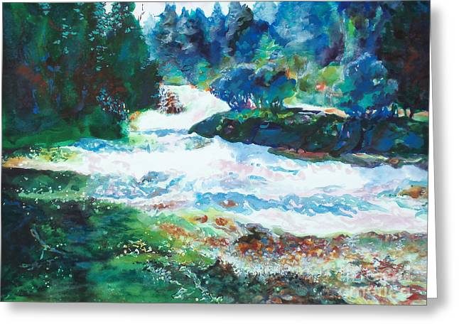 By The Rushing Waters Greeting Card by Kathy Braud