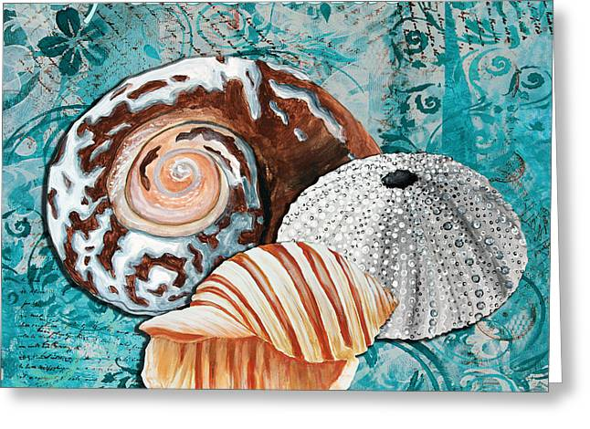 By The Seaside Original Coastal Painting Colorful Urchin And Seashell Art By Megan Duncanson Greeting Card by Megan Duncanson