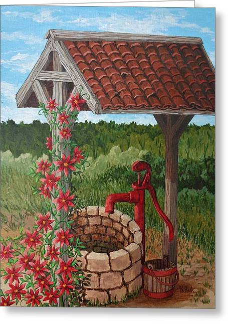 Greeting Card featuring the painting By The Water Pump by Katherine Young-Beck