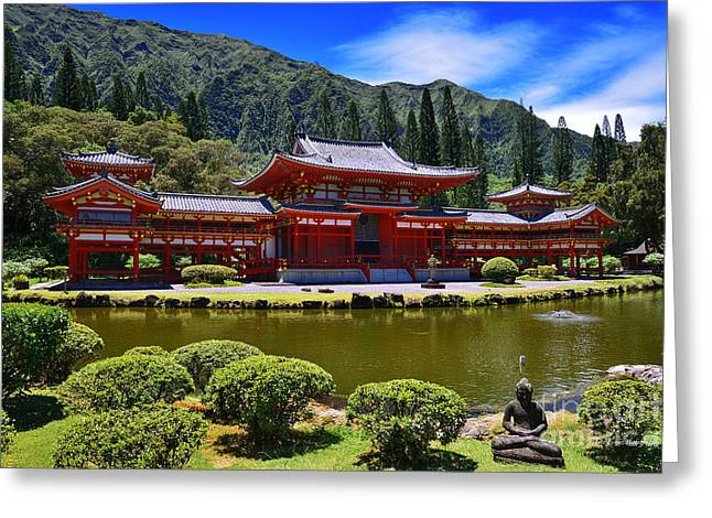 Byodo-in Temple On The Island Of Oahu Hawaii Greeting Card