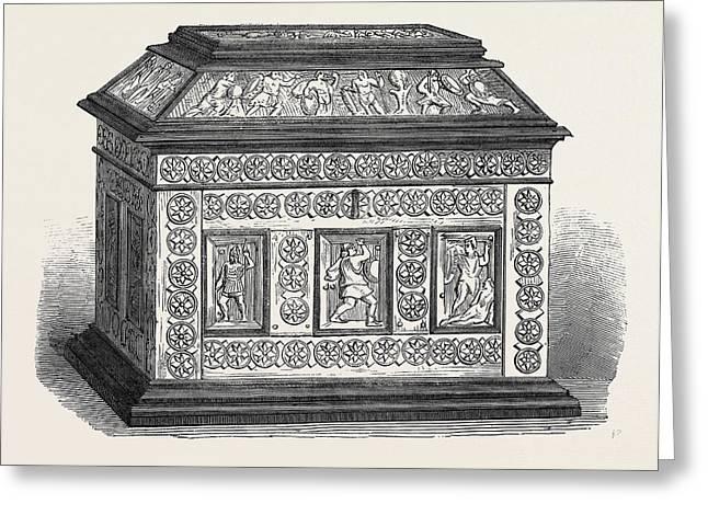Byzantine Casket Of Bonework Set In Ebony Greeting Card by English School