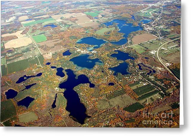 C-020 Chain O Lakes Waupaca Wisconsin Fall Greeting Card by Bill Lang