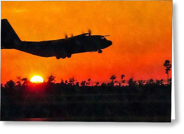 C-130 Sunset Greeting Card by Paul Fearn