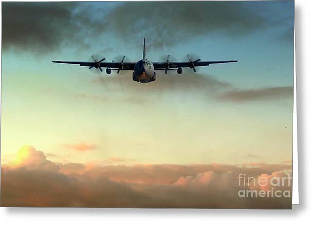 C-130e Inbound Greeting Card by J Biggadike