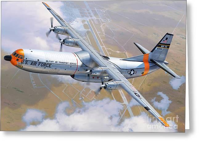 C-133 Cargomaster Over Travis Greeting Card by Stu Shepherd