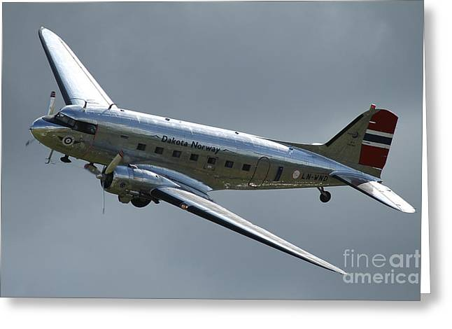 C-47 Dakota In Norwegian Colours Greeting Card by Riccardo Niccoli