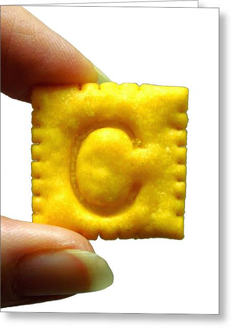 C For Cheese Cracker Greeting Card by Pete Trenholm