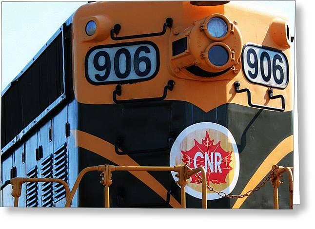 C N R Train 906 Rustic Greeting Card by Barbara Griffin