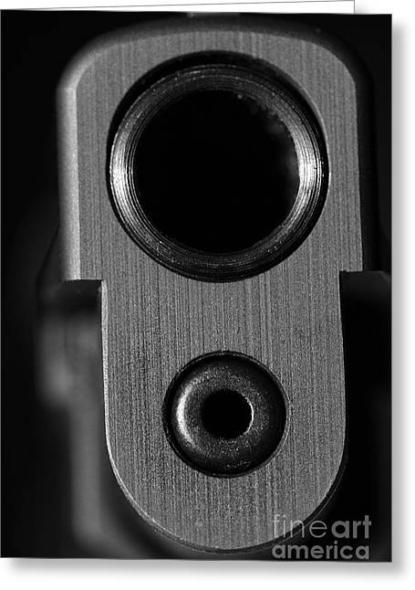 C Ribet Sig Sauer Extreme Closeup Black And White Greeting Card by C Ribet