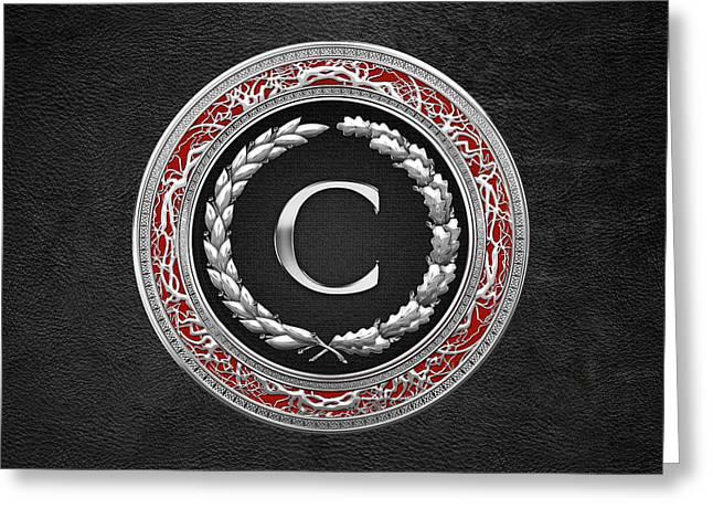 C - Silver Vintage Monogram On Black Leather Greeting Card