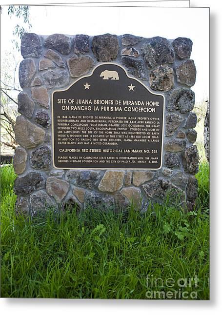 Ca-524 Site Of Juana Briones De Miranda Home On Rancho La Purisima Concepcion Greeting Card by Jason O Watson