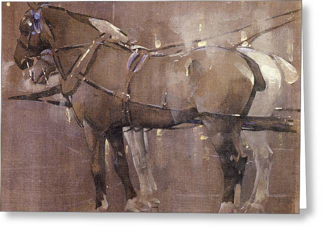 Cab Horses By Gaslight  Greeting Card
