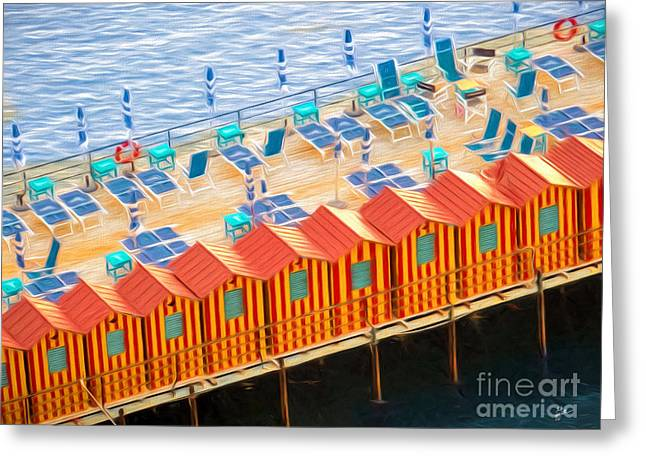 Cabanas Of Sorrento Greeting Card by TK Goforth