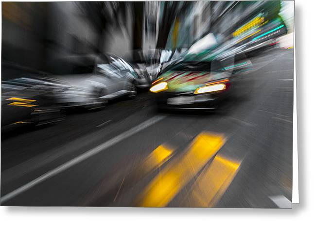 Cabbie Too Fast Greeting Card