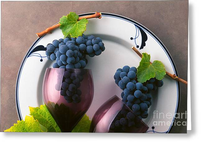 Cabernet Grapes And Wine Glasses Greeting Card by Craig Lovell