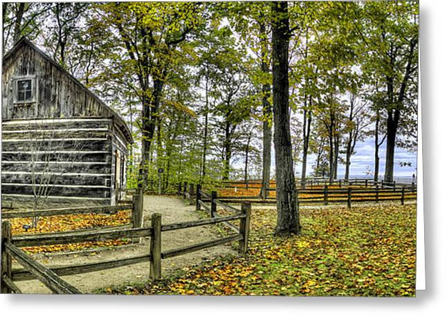 Cabin At Old Mission Lighthouse Greeting Card