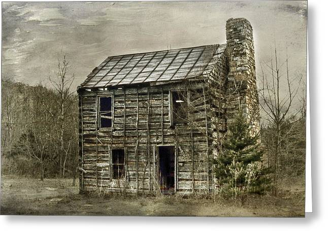 Cabin By The Track Series II Greeting Card by Kathy Jennings