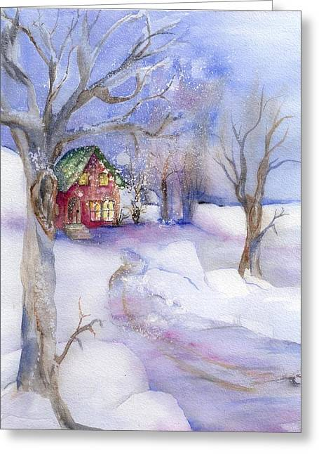 Cabin Candles Greeting Card by Rosemarie Franco-Bell
