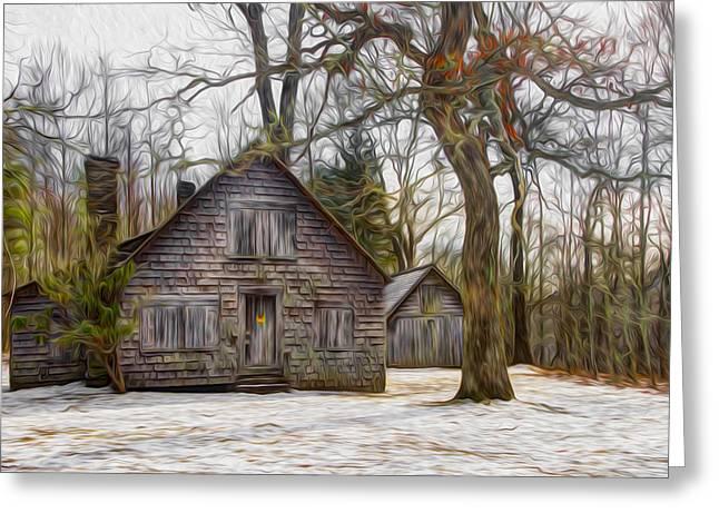 Cabin Dream Greeting Card by Debra and Dave Vanderlaan