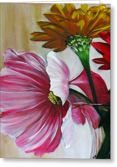 Cabin Flowers Greeting Card by Sherry Robinson