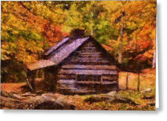 Cabin In Autumn Greeting Card by Dan Sproul