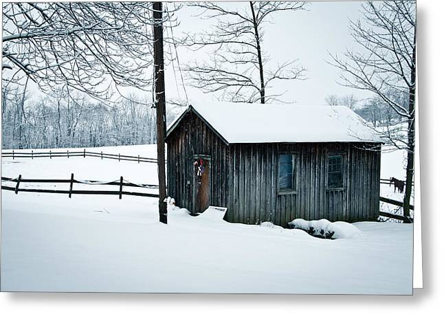 Cabin In Snow Greeting Card by Nickaleen Neff