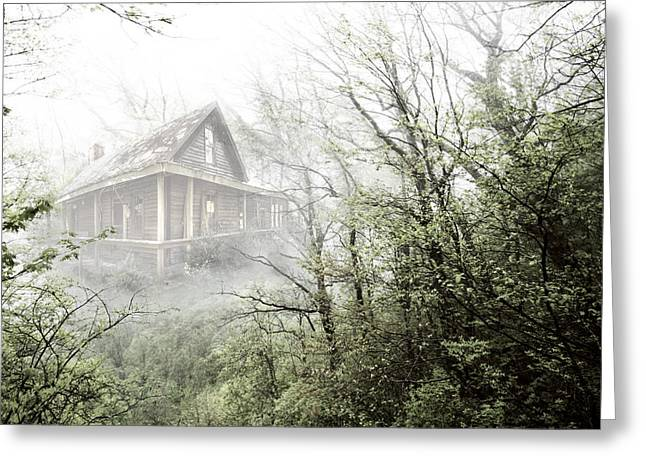 Cabin In The Fog Greeting Card by Debra and Dave Vanderlaan