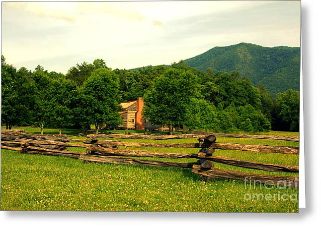 Cabin In The Meadow Cades Cove Greeting Card