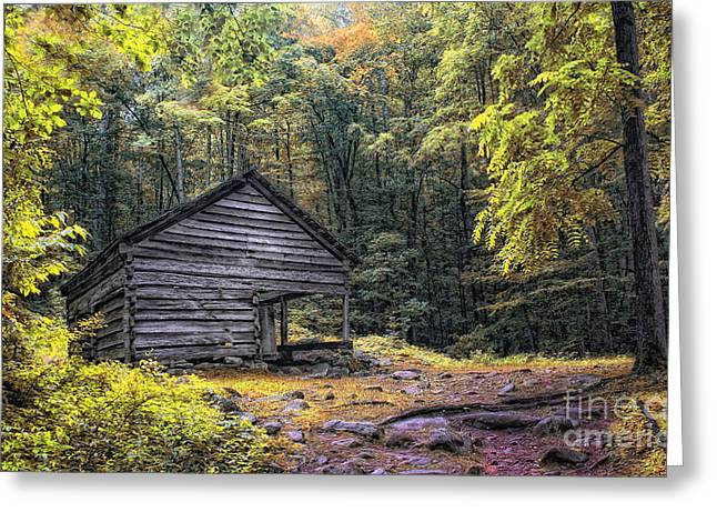 Cabin In The Mountains Greeting Card by Gina Cormier