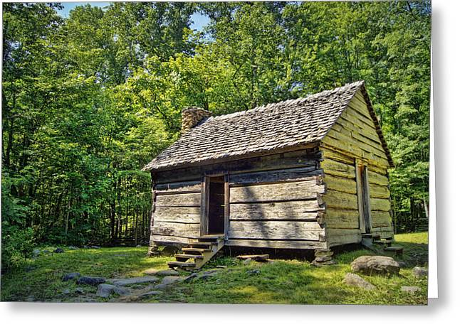 Cabin In The Smokies Greeting Card by Cricket Hackmann